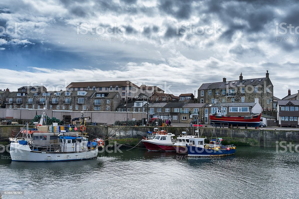 Seahouses Harbour stock photo