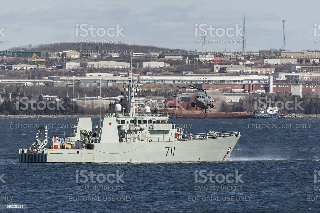 Seaking with Warship stock photo