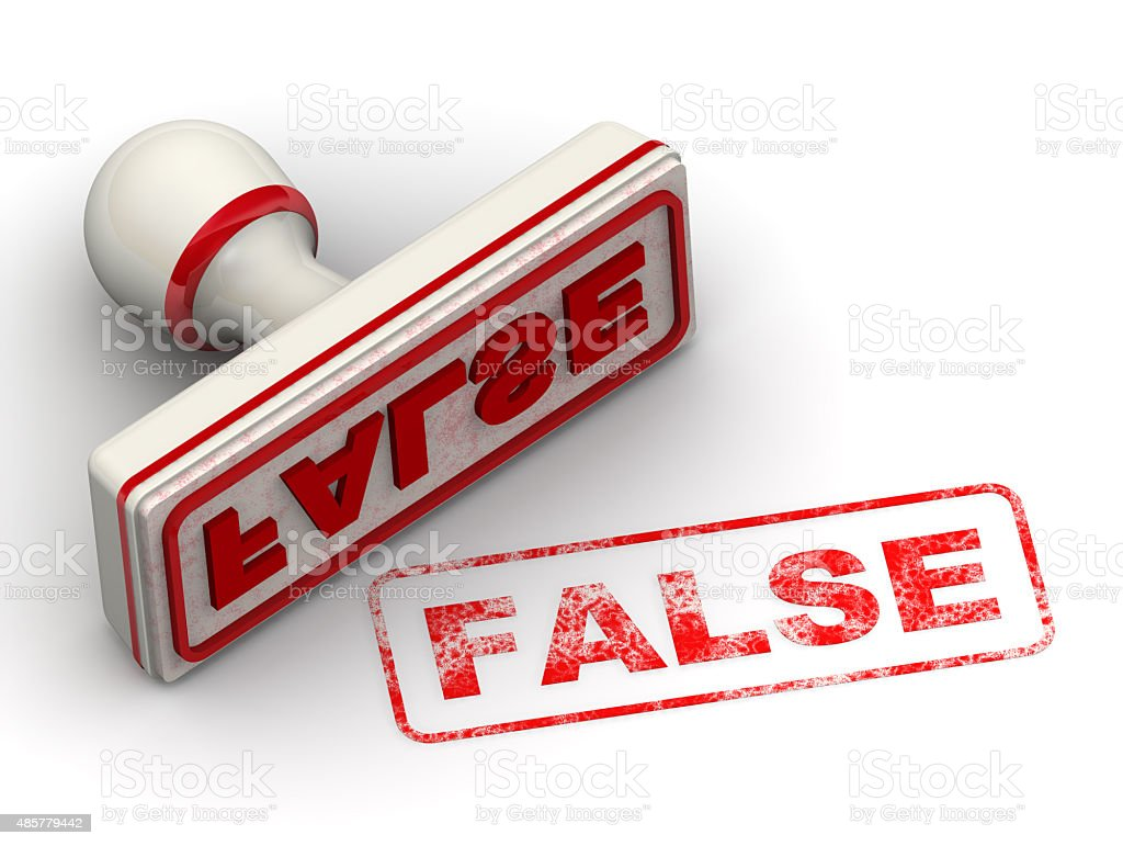 FALSE. Seal and imprint stock photo
