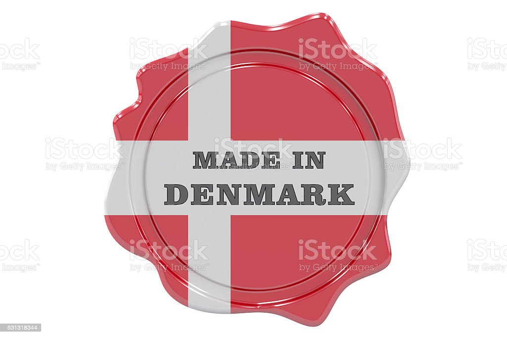 Seal 'Made in Denmark', 3D rendering stock photo