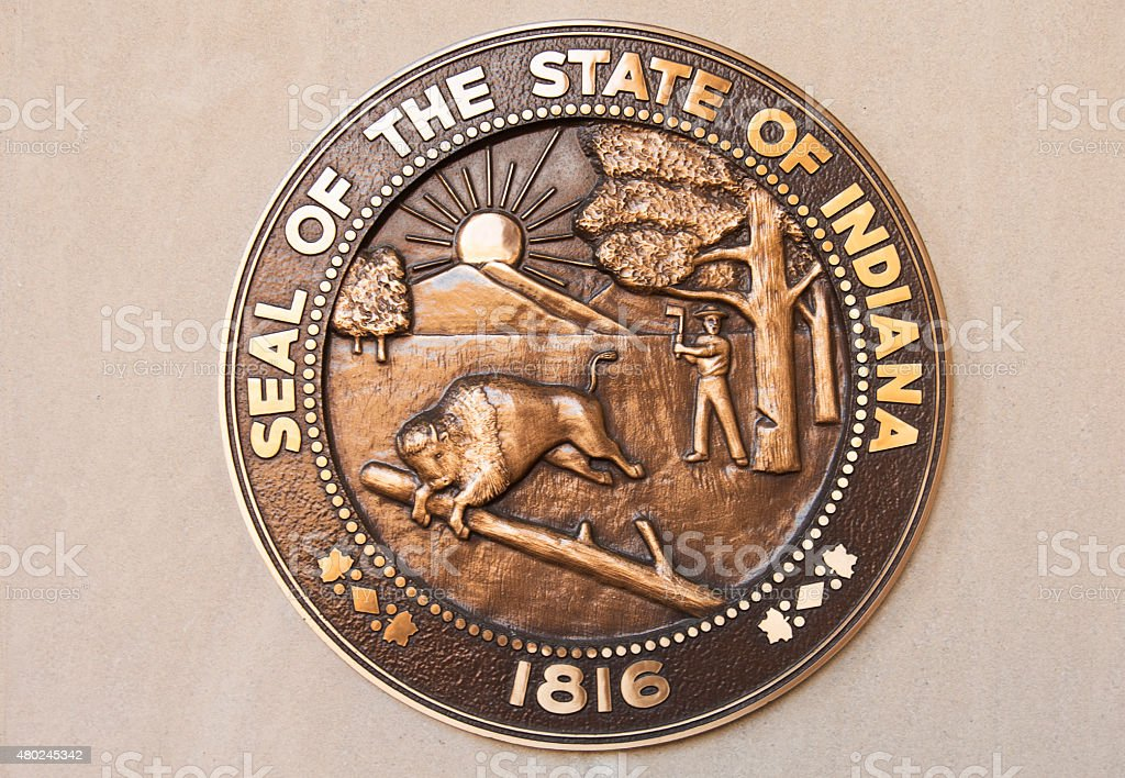 Seal of the State of Indiana stock photo