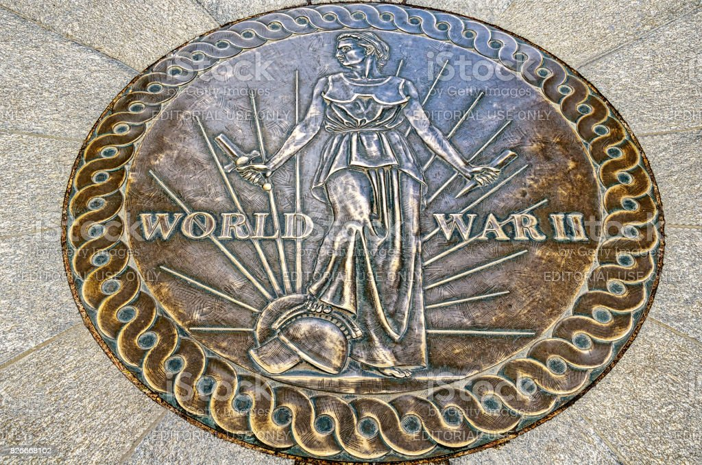 A seal on the floor of World War 2 Memorial in Arlington using the World War II Victory Medal design stock photo