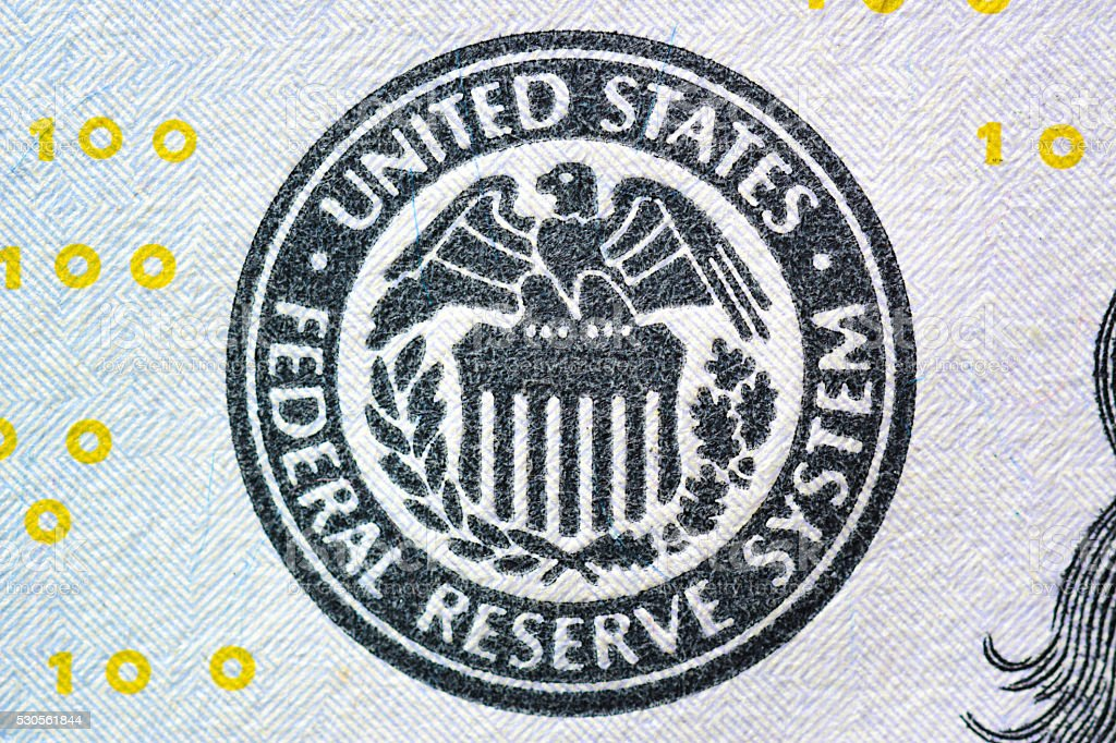 FEDERAL RESERVE SYSTEM seal on US dollar bill stock photo
