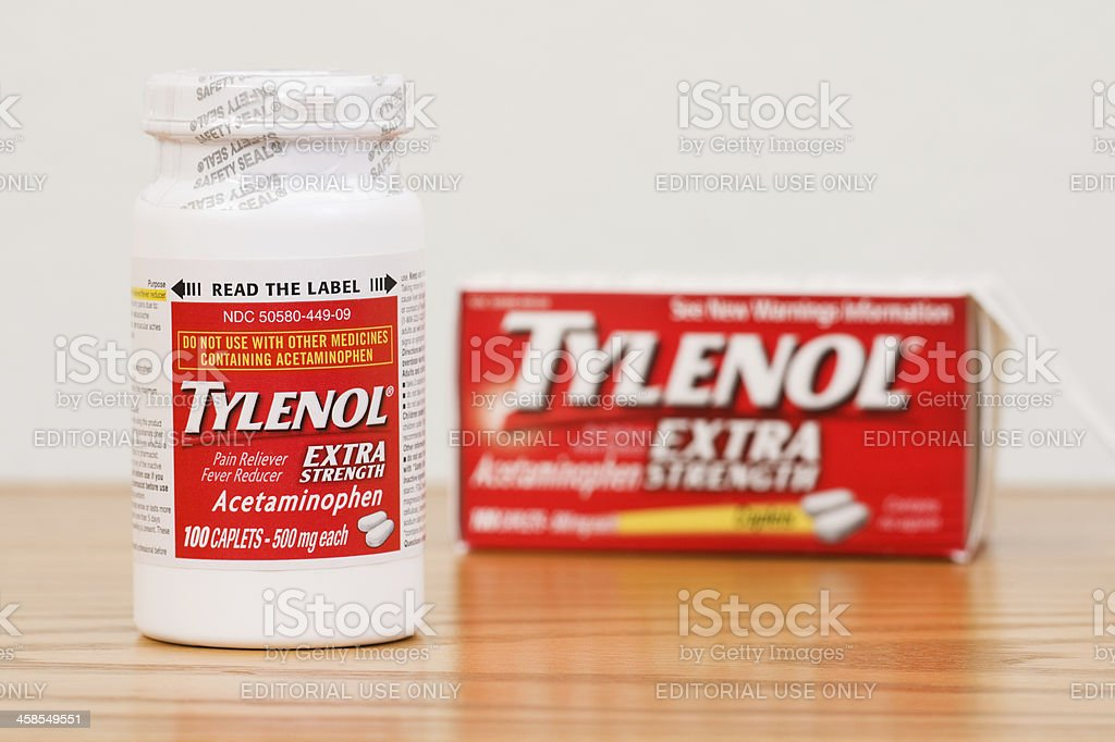 Sealed Bottle of Extra Strength Tylenol Caplets with Box stock photo