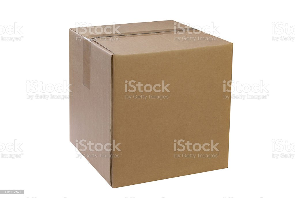 Sealed cardboard box on white background stock photo
