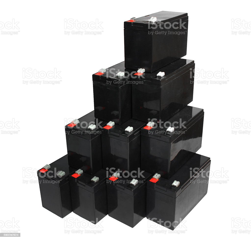 Sealed lead acid batteries isolated on white background stock photo