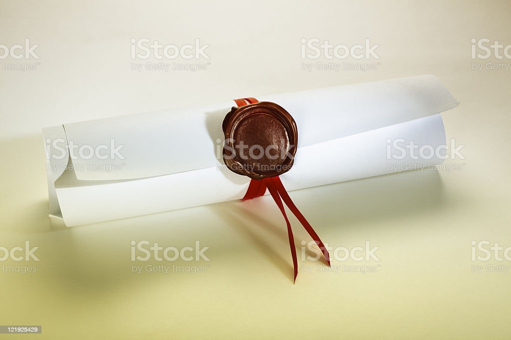 sealed scroll document stock photo