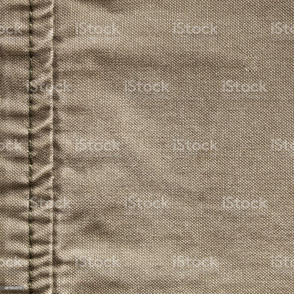 Seam in burlap stock photo
