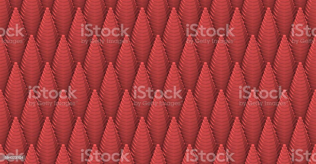 seamless 3d pattern of red stepped cones stock photo