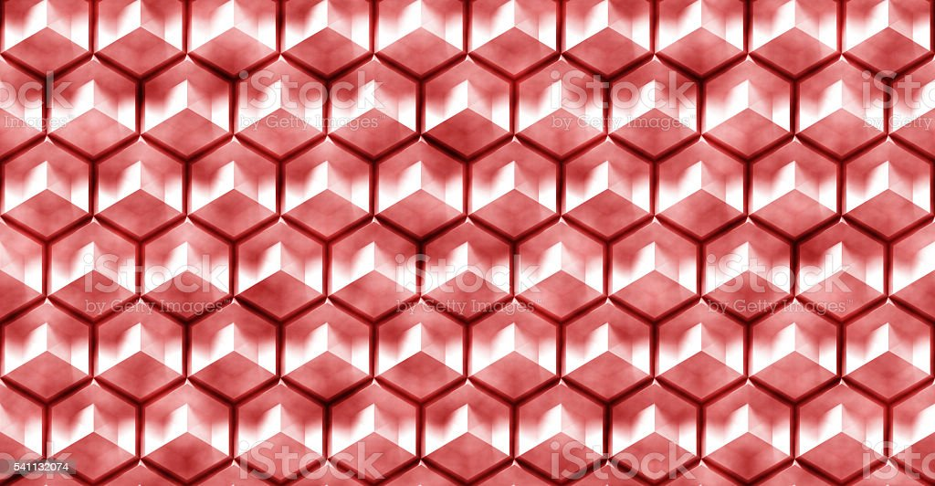 seamless abstract hexagon background with red grunge stock photo