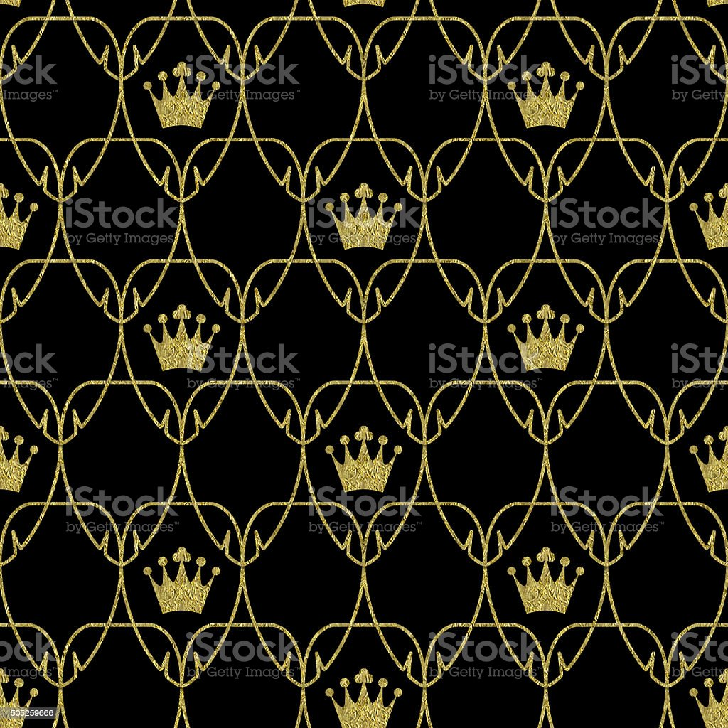 Seamless Art Nouveau Crowns Scale Pattern with Gold Overlay stock photo