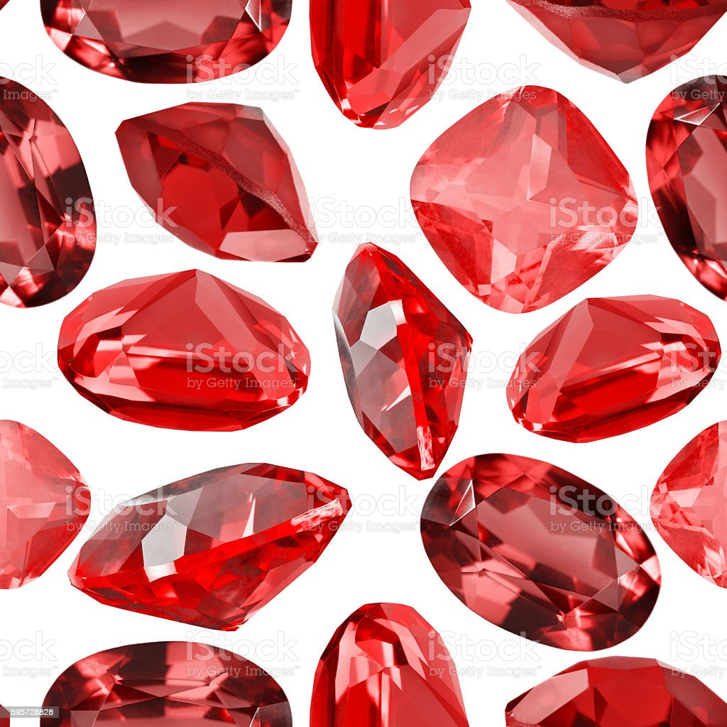 seamless background from isolated red ruby gems stock photo
