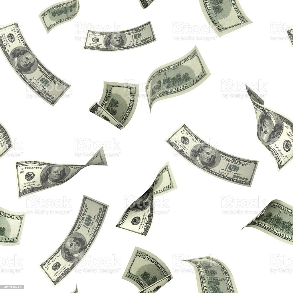 Seamless background with flying dollar banknotes stock photo