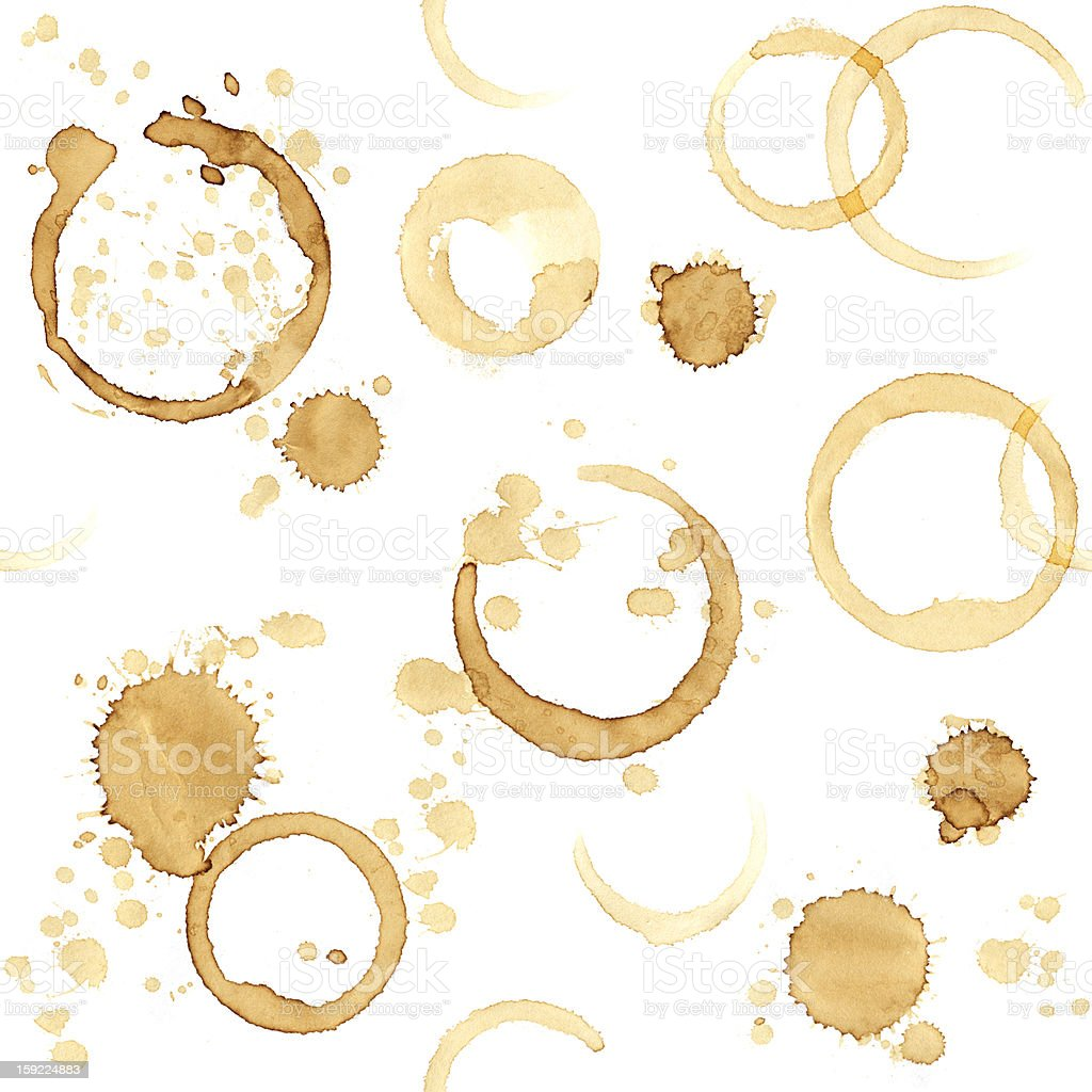Seamless background with stains of coffee royalty-free stock photo