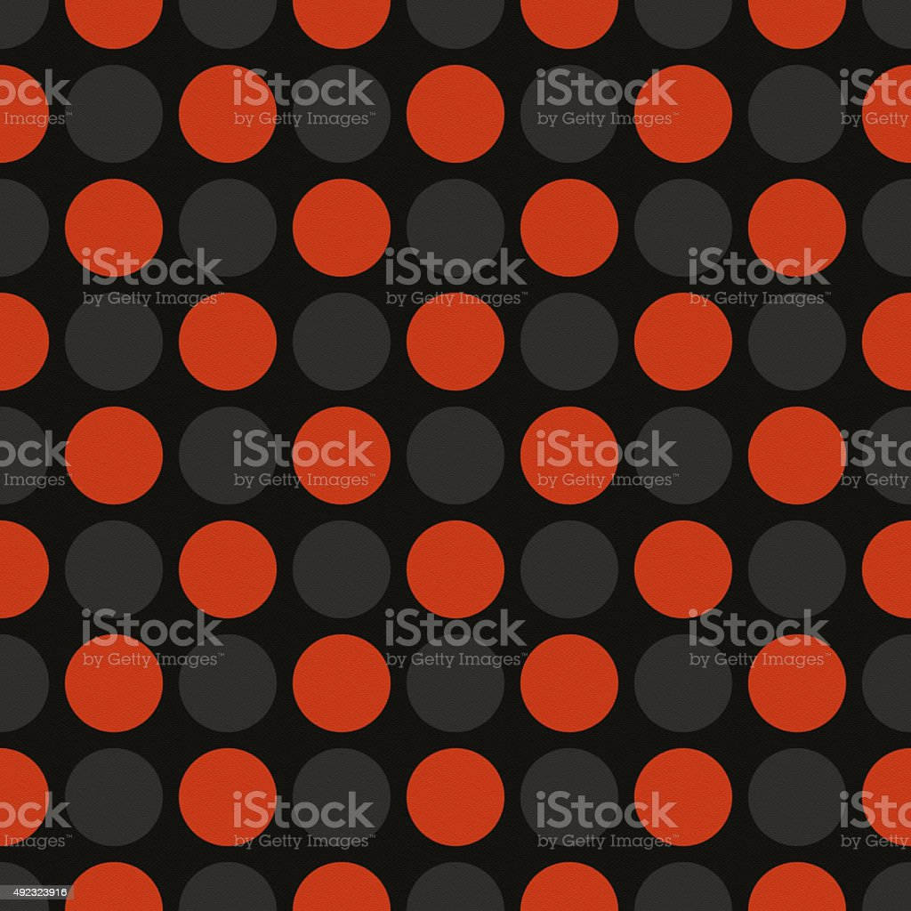 Seamless black paper with orange and gray dots vector art illustration