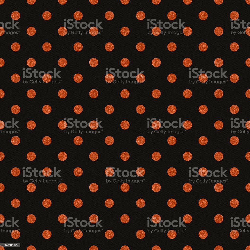 Seamless black paper with orange glitter dots stock photo