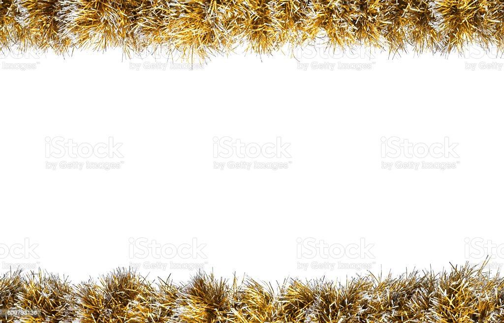 Seamless Christmas gold silver tinsel frame stock photo