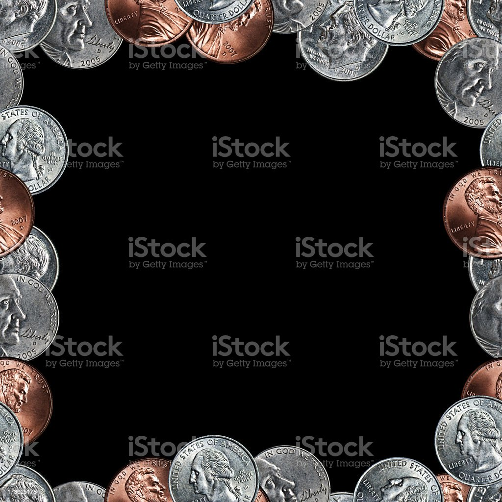 seamless coin border on black background royalty-free stock photo