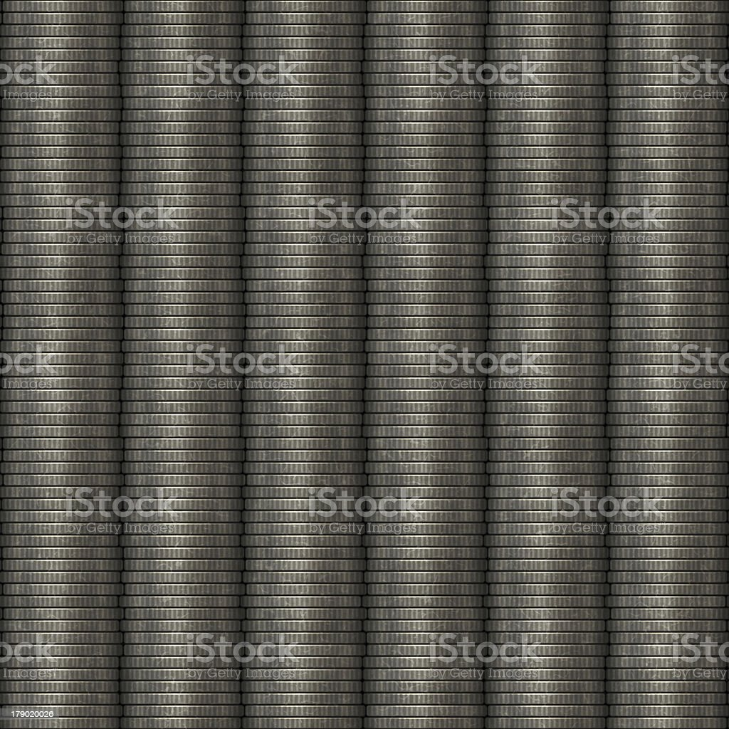 Seamless computer generated silver coins in stack royalty-free stock photo