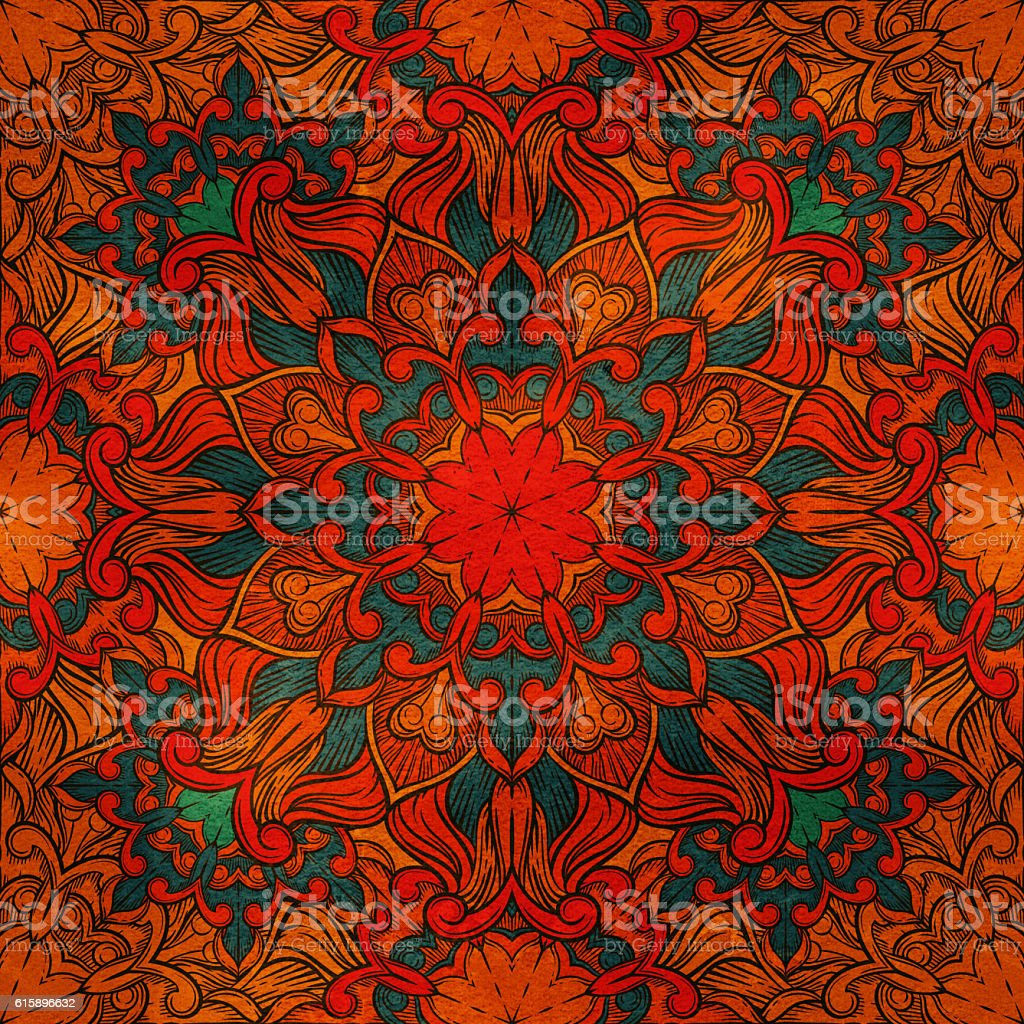 Seamless decorative pattern. Ornament with mosaic elements stock photo