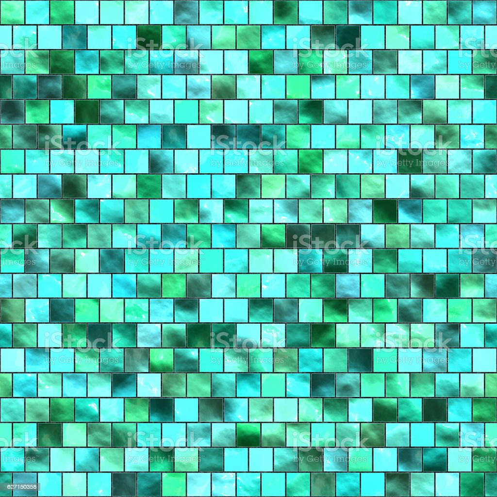Seamless digital non-realistic blue green glass tile pattern stock photo