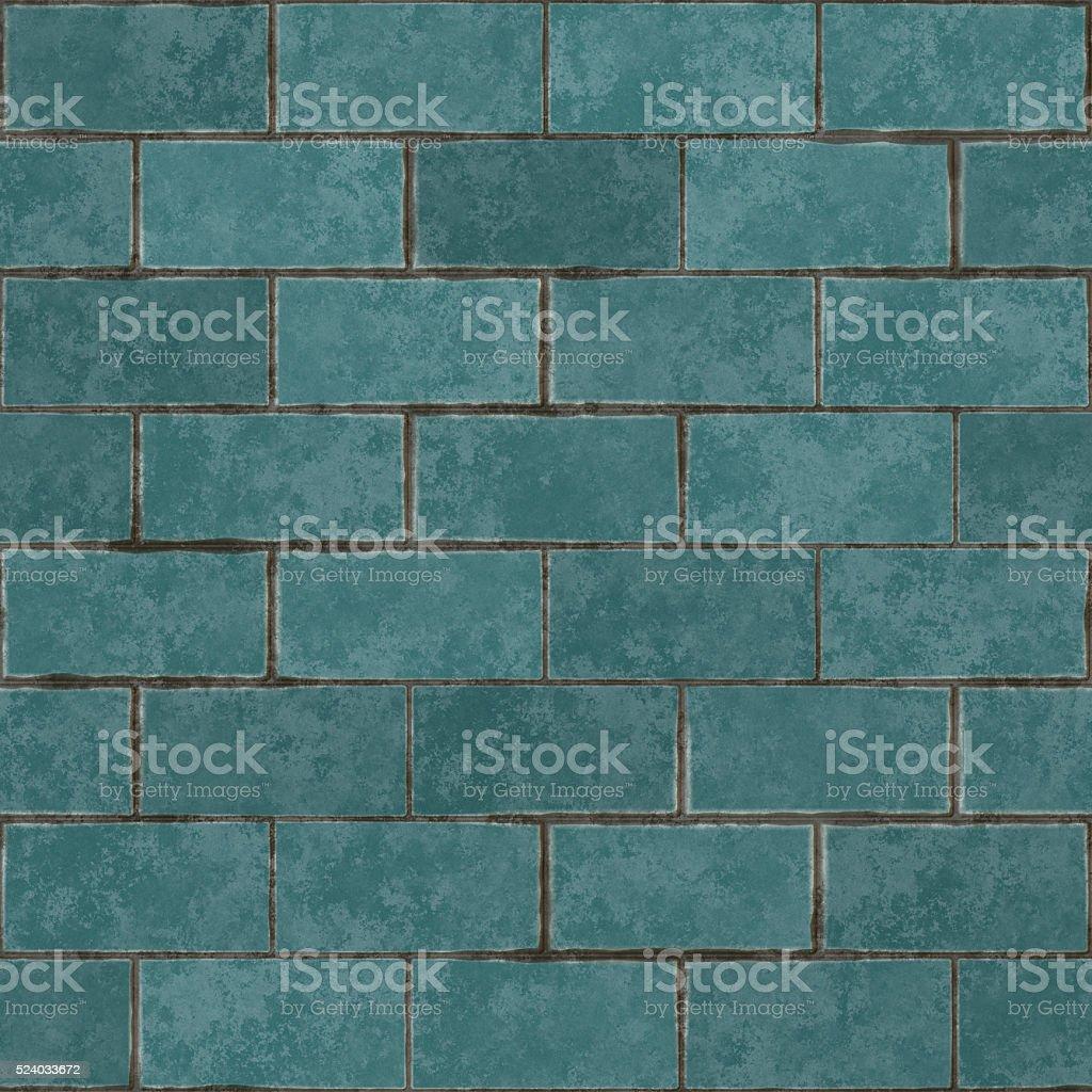 Seamless digitally created blue brick tile pattern stock photo