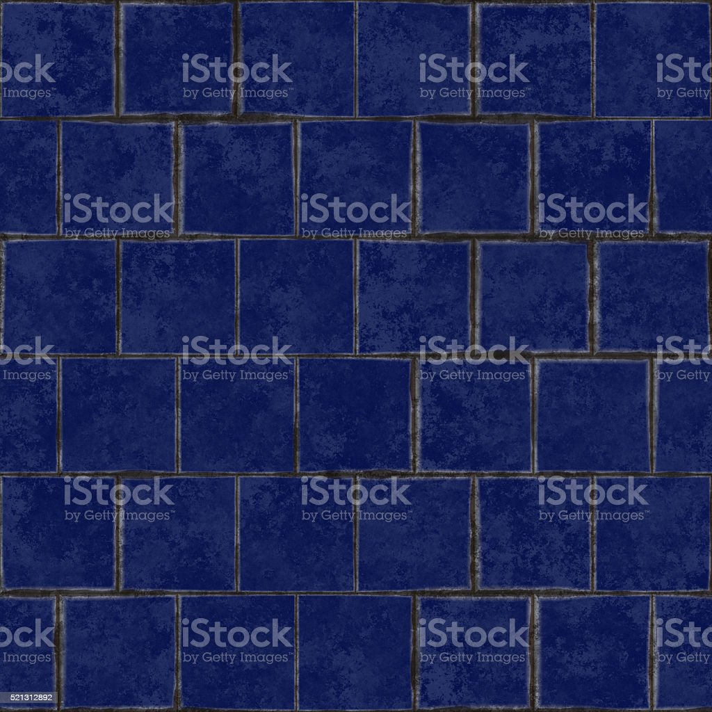 Seamless digitally created dark blue tile pattern stock photo
