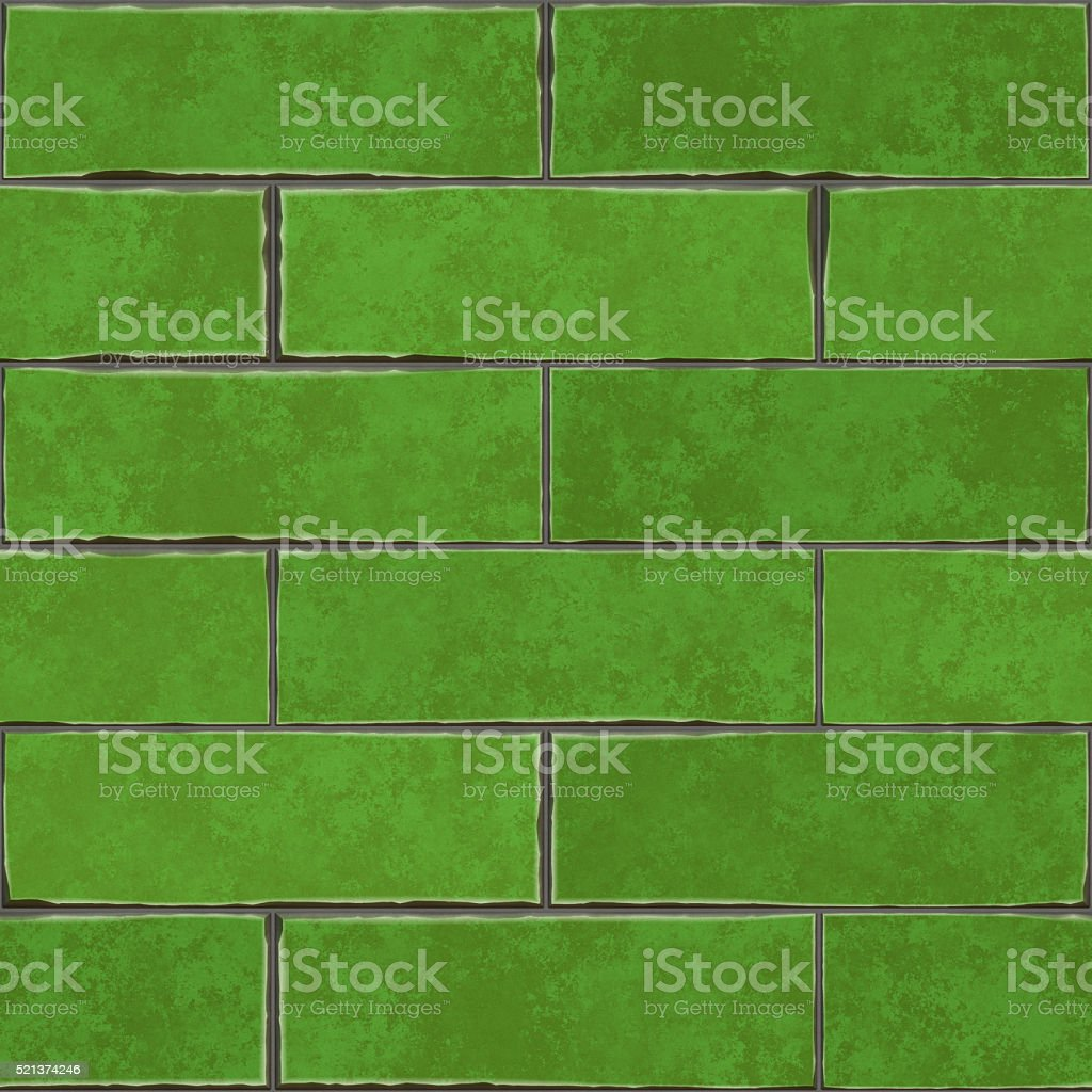 Seamless digitally created green brick tile pattern stock photo