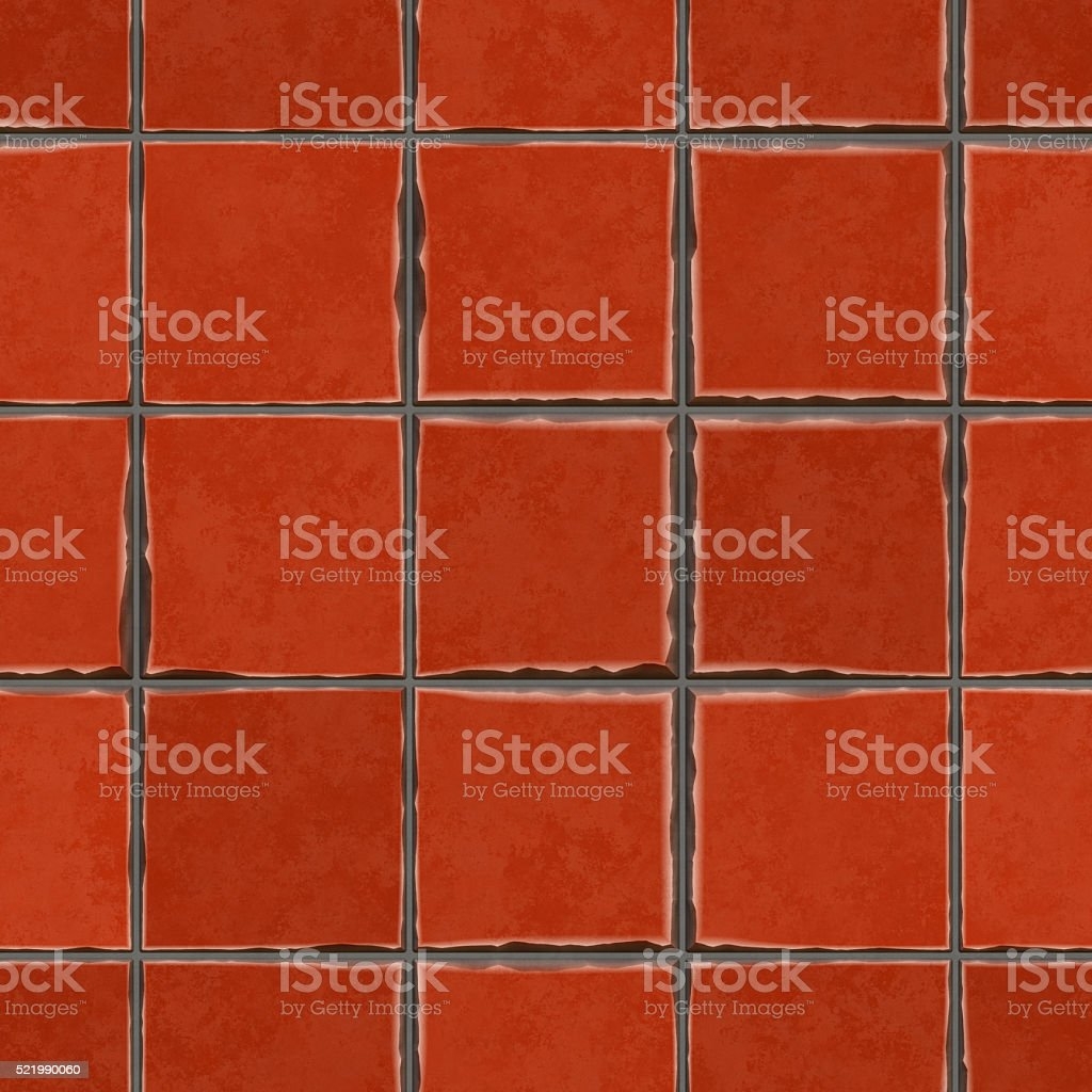 Seamless digitally created red clay tile pattern stock photo
