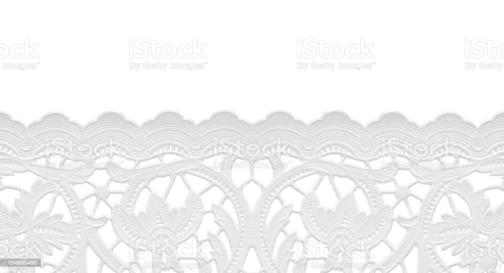 seamless edge lace doily/isolated on white royalty-free stock photo