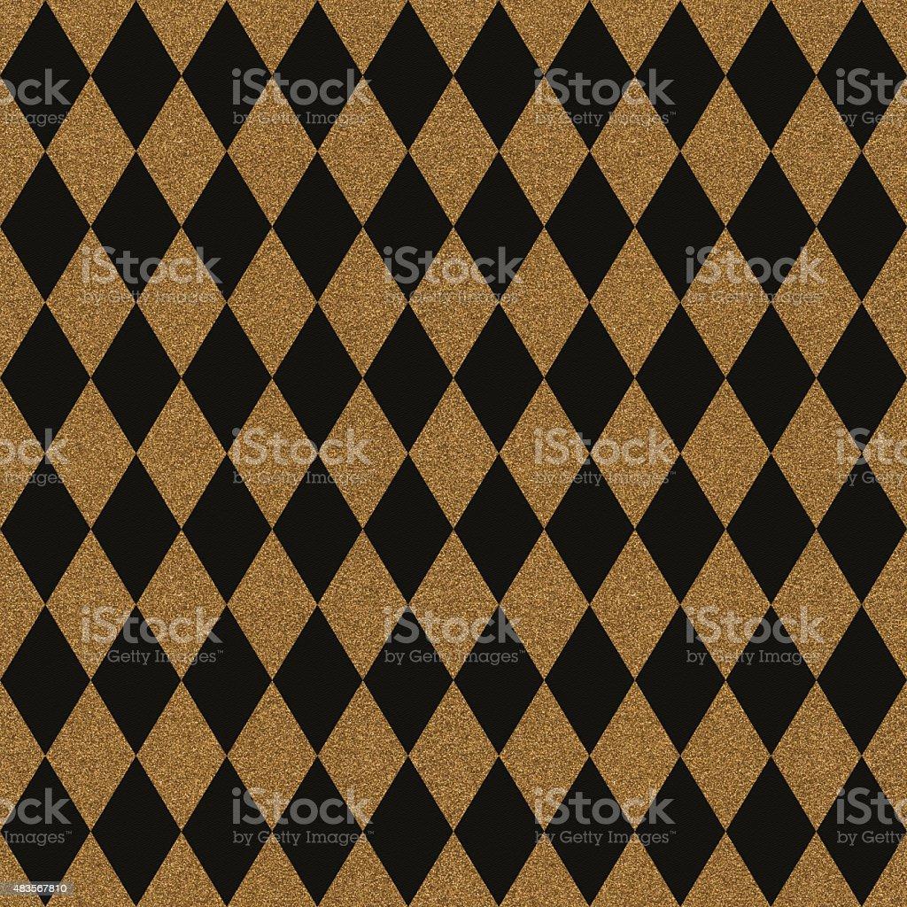 Seamless gold glitter diamonds on black paper stock photo