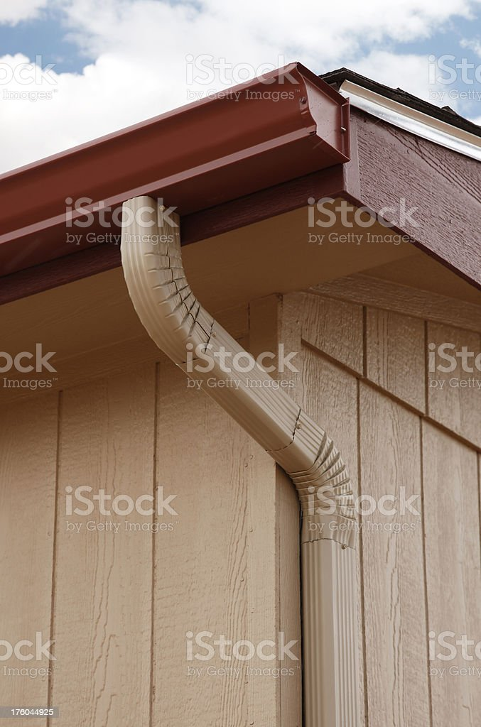 Seamless Gutter and Downspout on a Home stock photo
