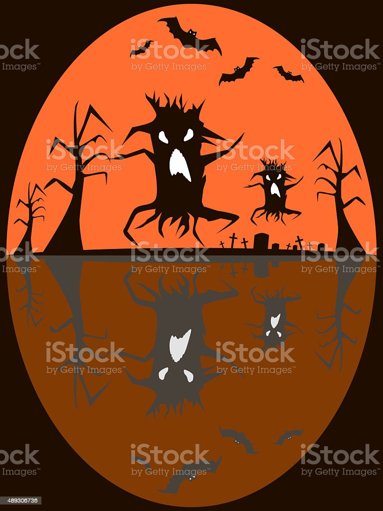 Seamless Halloween background of old cemetery and creepy demonic stock photo
