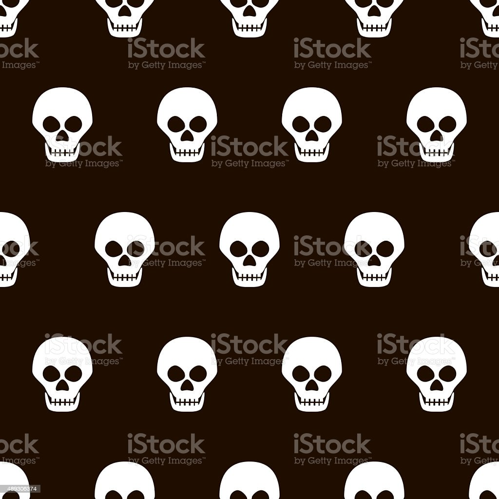 Seamless Halloween black and white pattern of skulls stock photo