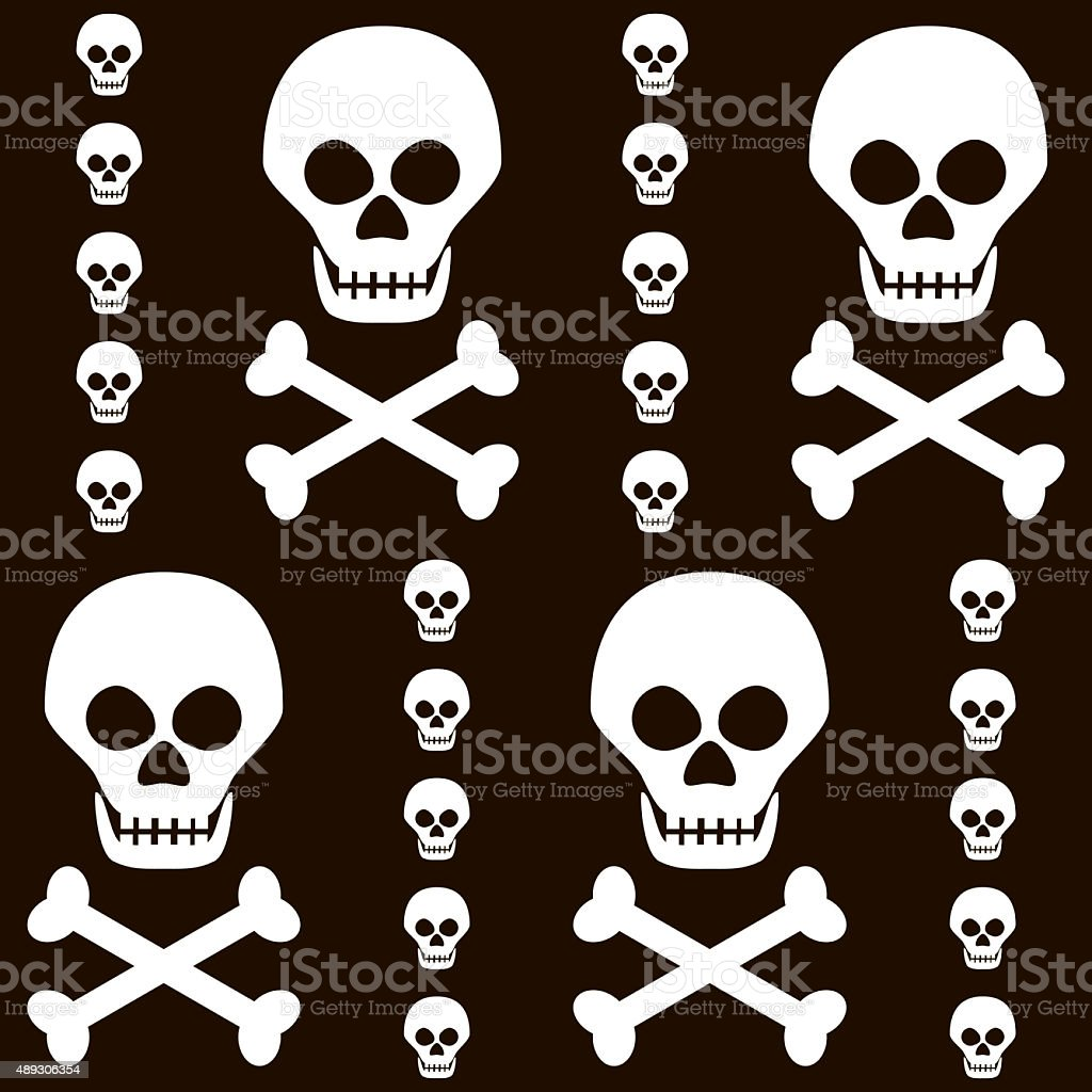 Seamless Halloween black and white pattern of skulls with crossb stock photo