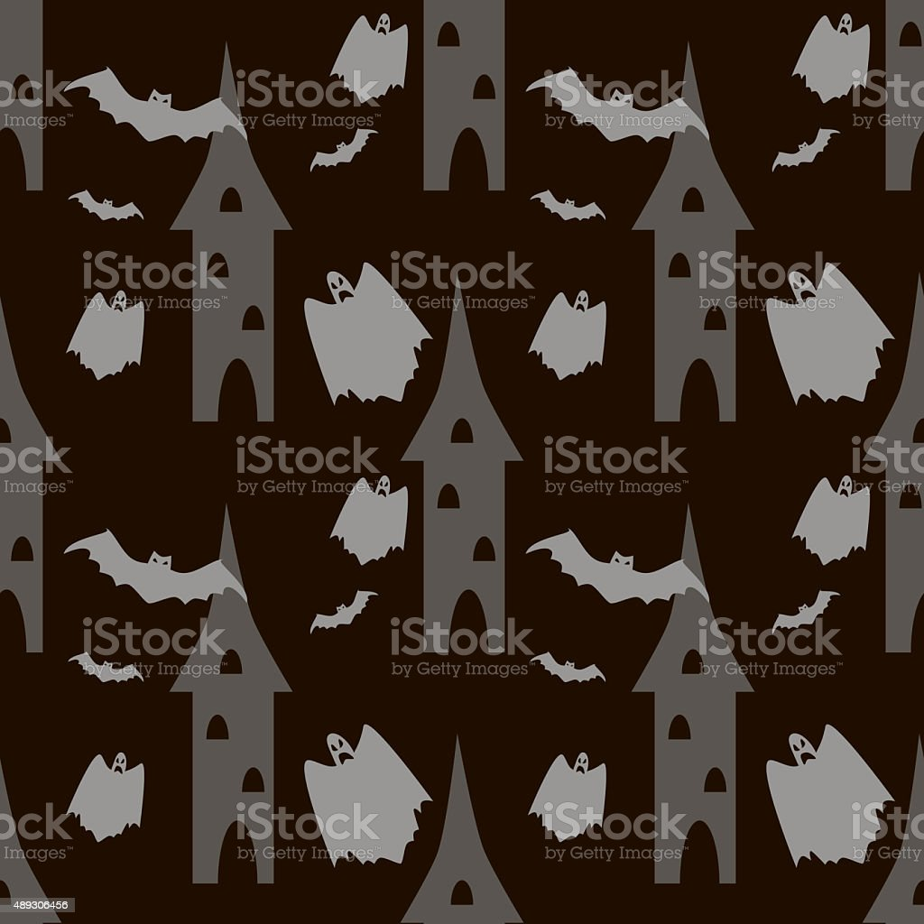 Seamless Halloween pattern of bats and ghosts flying around the stock photo