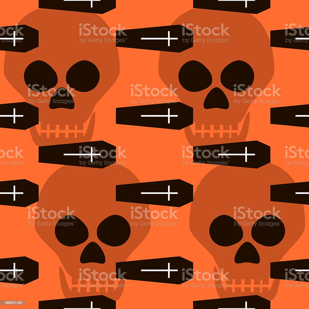 Seamless Halloween pattern of coffins, crosses and skulls stock photo