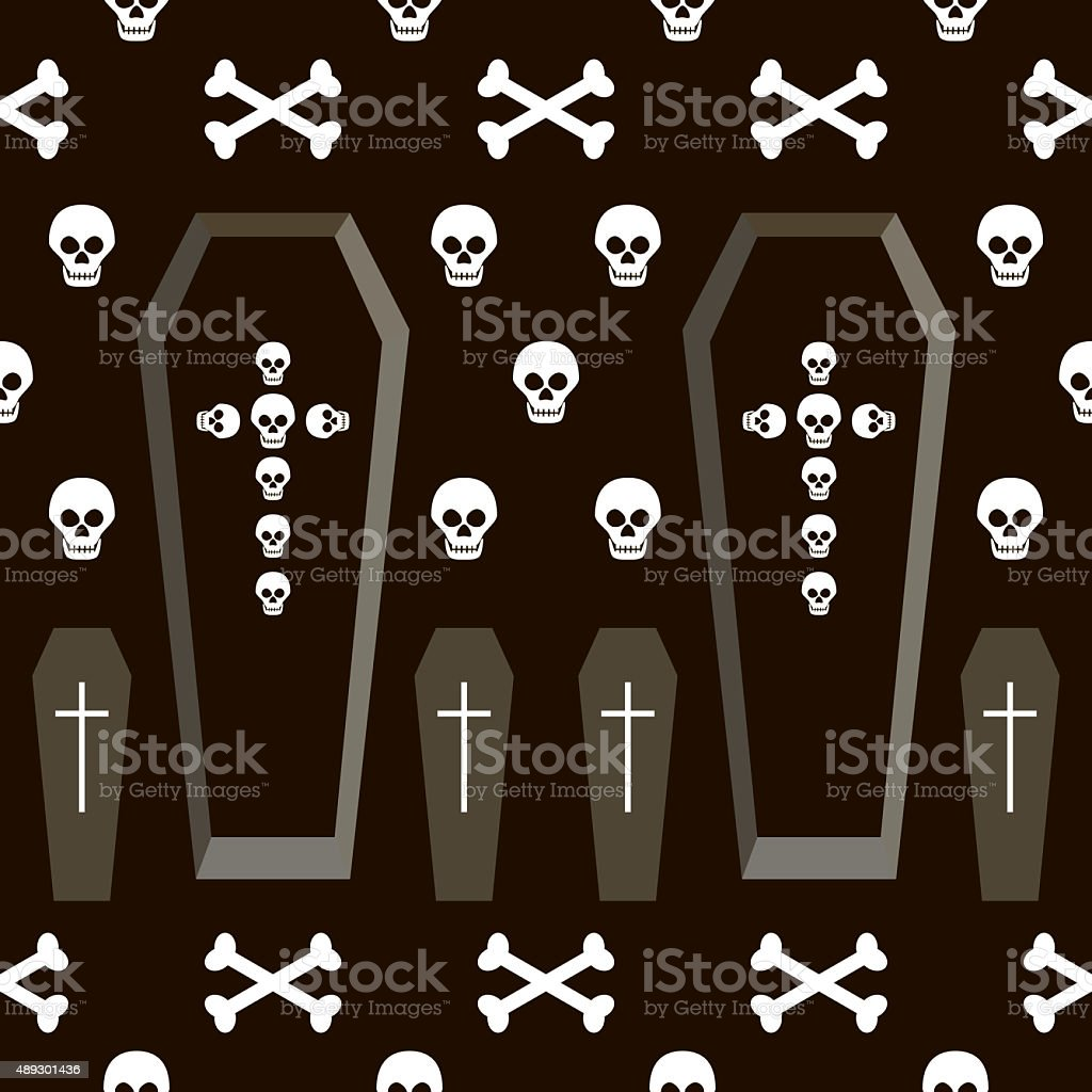 Seamless Halloween pattern of coffins, crosses, skulls and bones stock photo