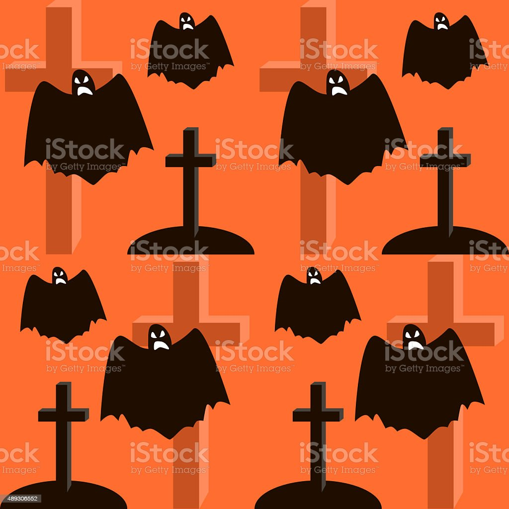 Seamless Halloween pattern of flying ghosts, graves and crosses stock photo
