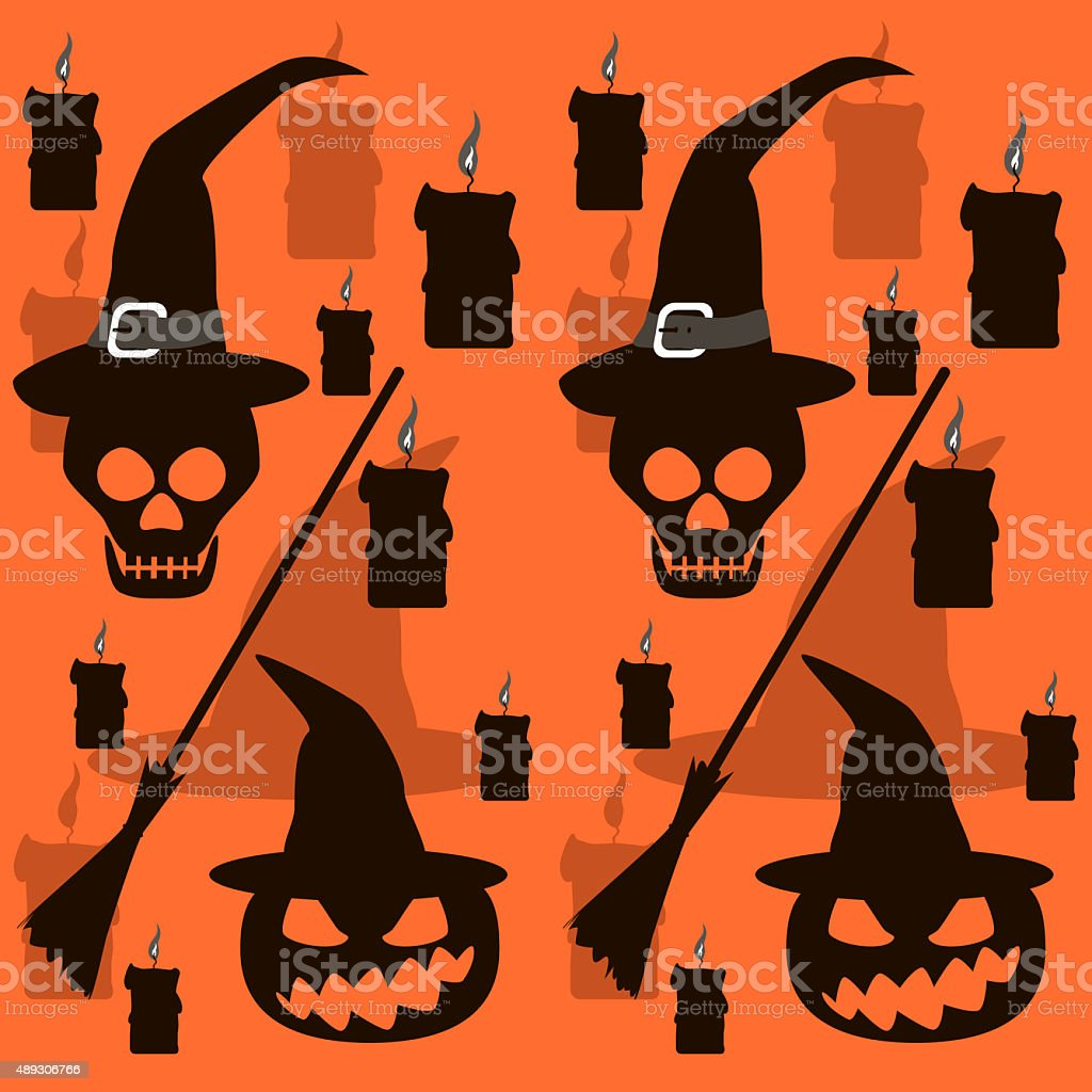Seamless Halloween pattern of skulls and evil pumpkins in witch stock photo