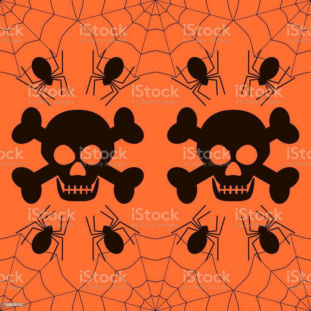 Seamless Halloween pattern of skulls and spiders stock photo