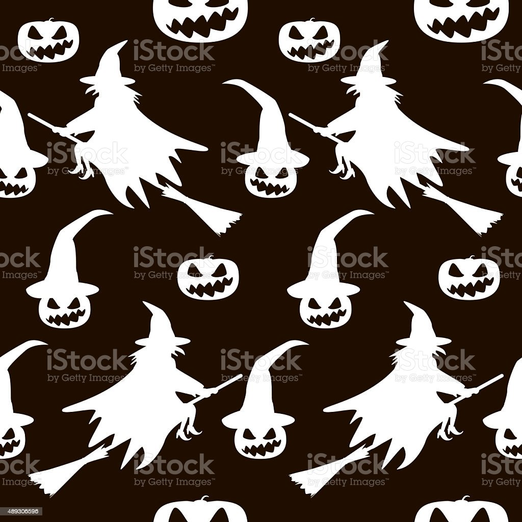 Seamless Halloween pattern of witches on broomsticks and evil pu stock photo