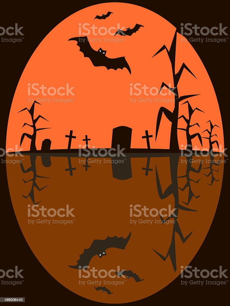 Seamless Halloween picture of bats flying over sinister cemetery stock photo
