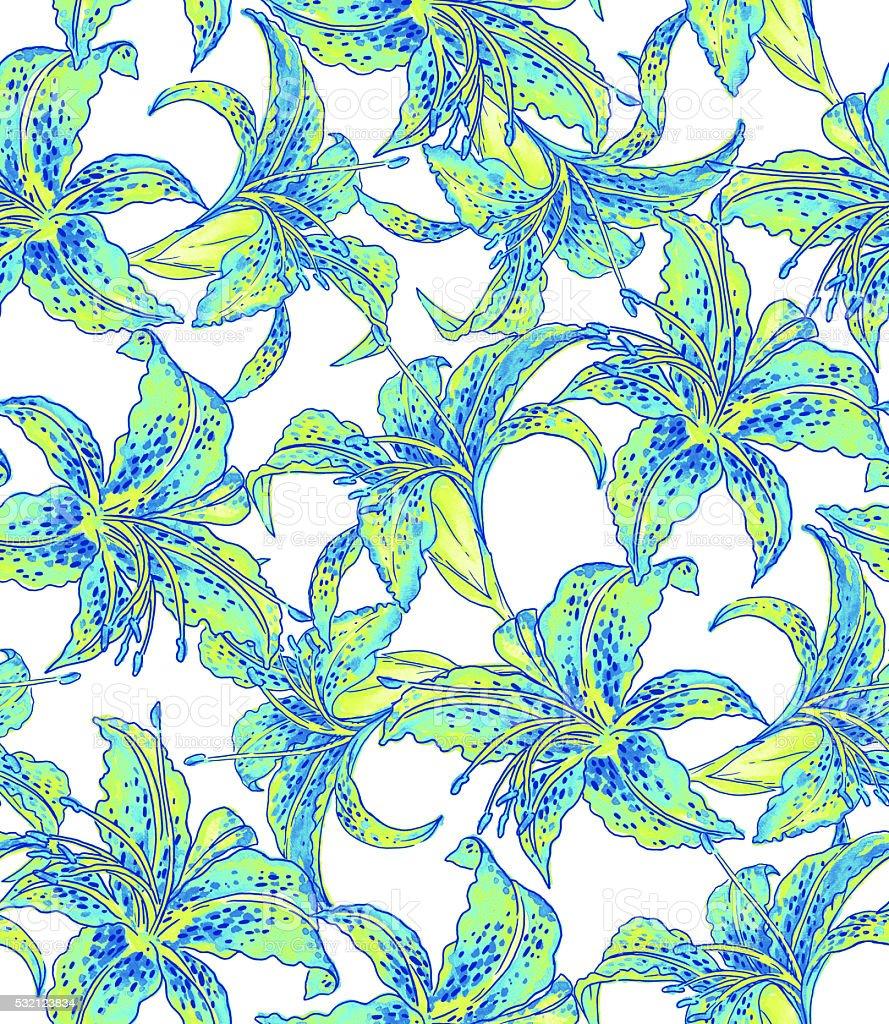seamless lilies pattern. stock photo