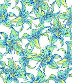 seamless lilies pattern.