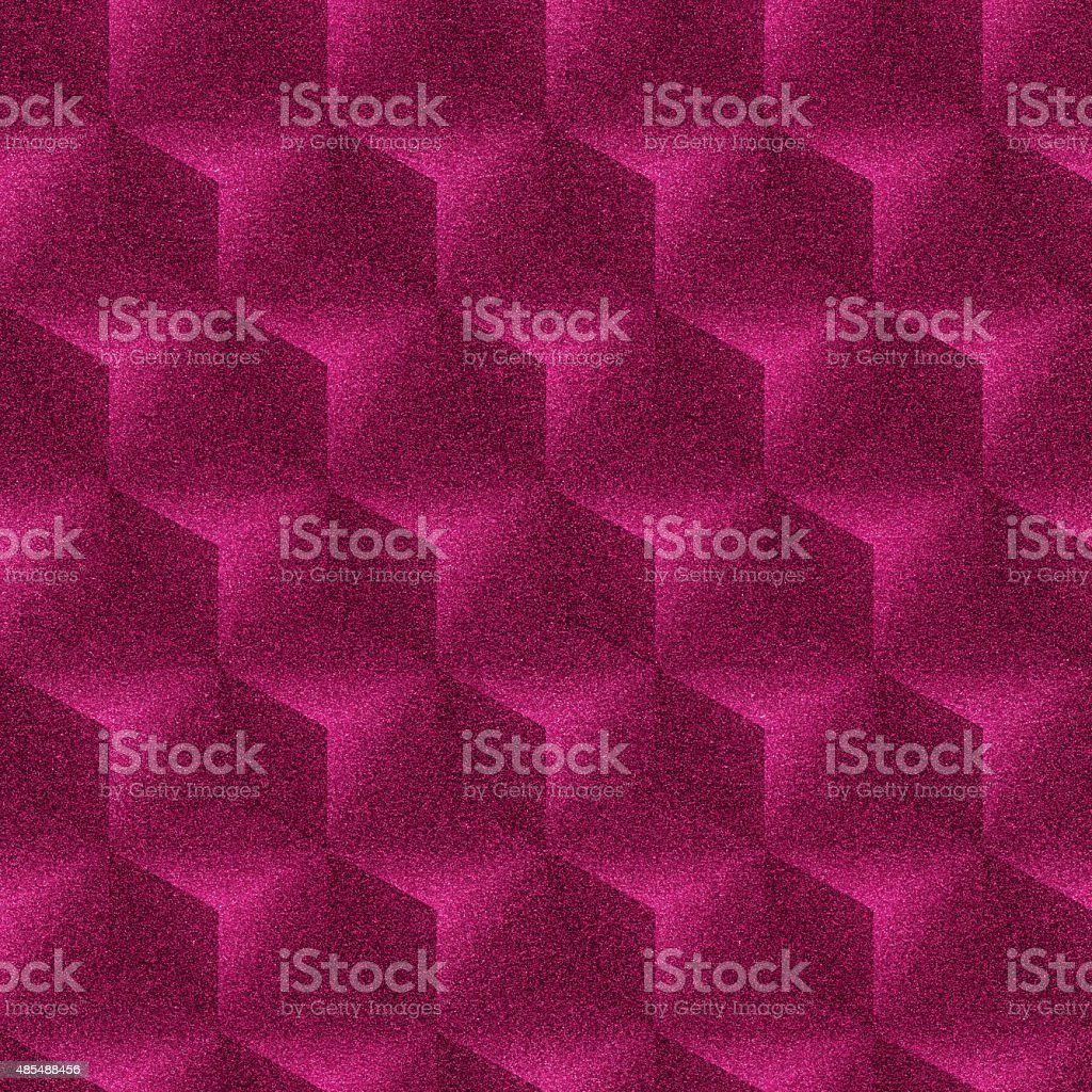 Seamless magenta glitter paper with stacked cube pattern stock photo