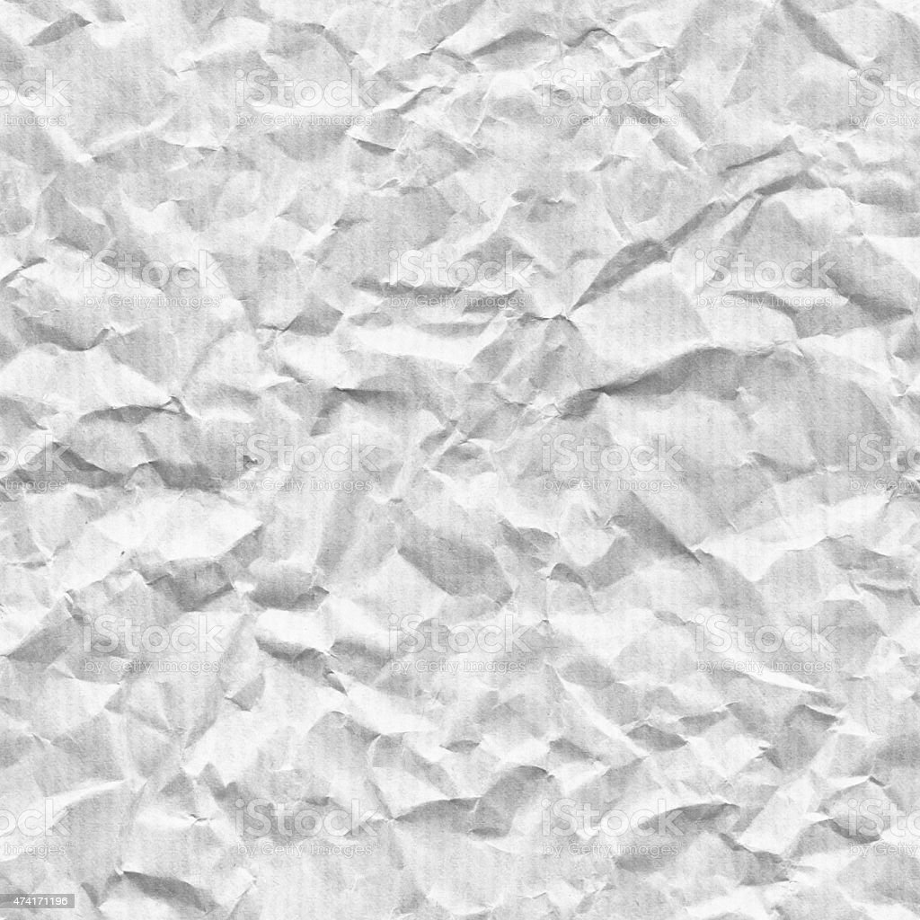 Seamless monochromatic light crumpled paper - texture background stock photo