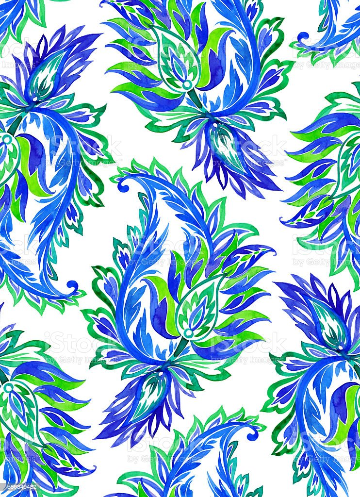 seamless paisley pattern. watercolor illustration. stock photo