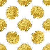 Seamless pattern gold polka dot