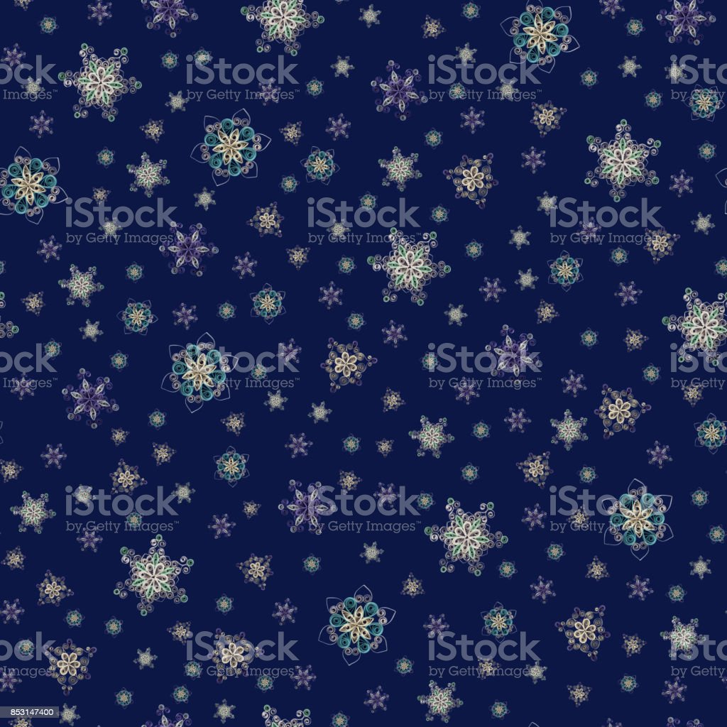 Seamless pattern made of handmade paper snowflakes in quilling technique on dark blue background. Can be used as Christmas or New Year background stock photo